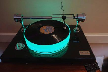 The Pre-audio invitingly illuminated acrylic turntable, with a remarkable air