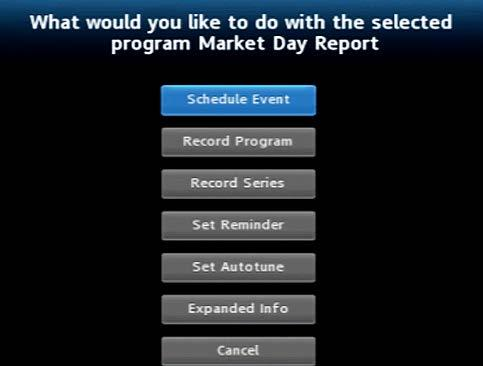 Press OK while viewing info on a future program to bring up these options.