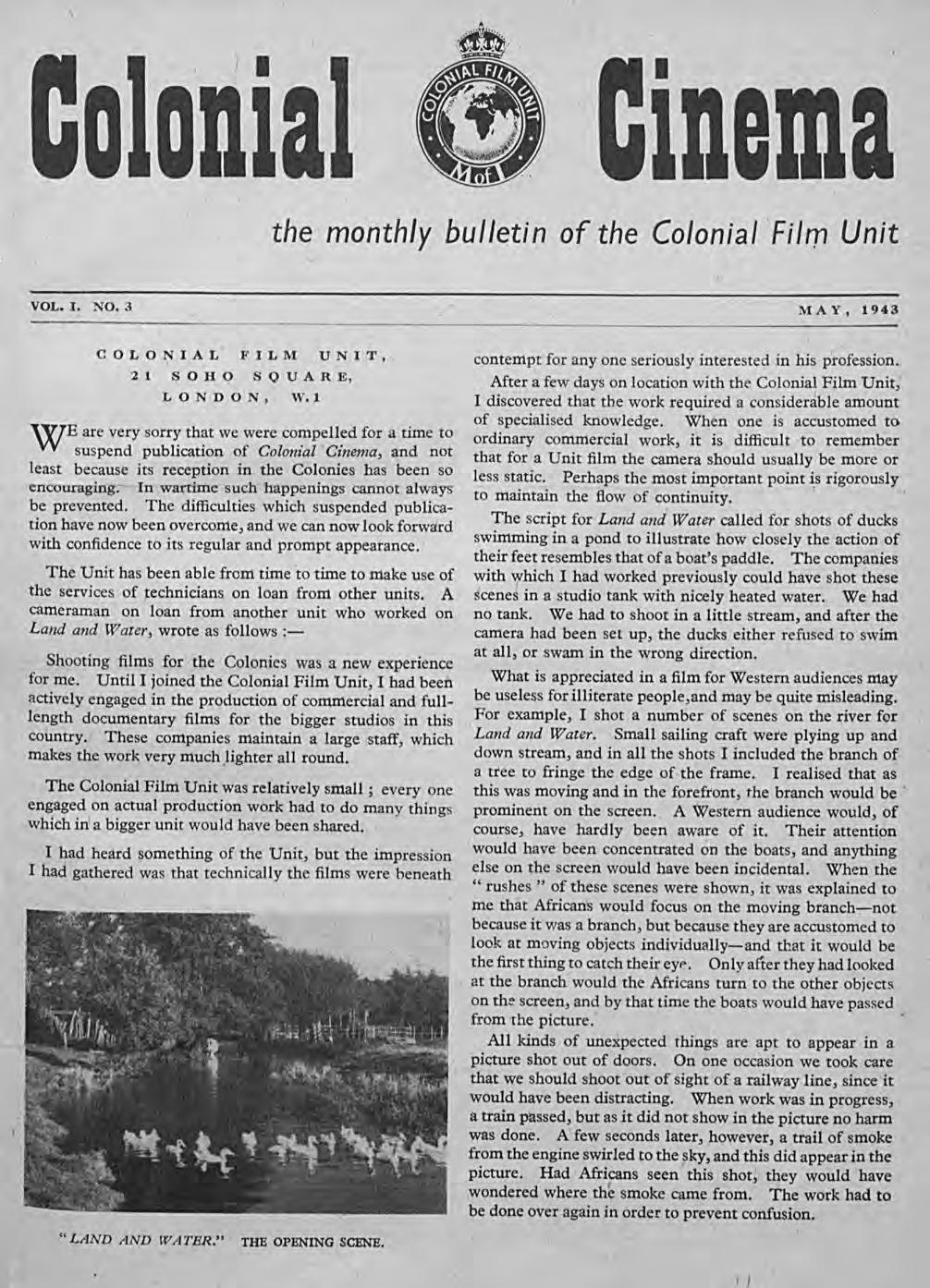 \ I ldema the monthly bulletin of the Colonial Film Unit VOL. I. NO.