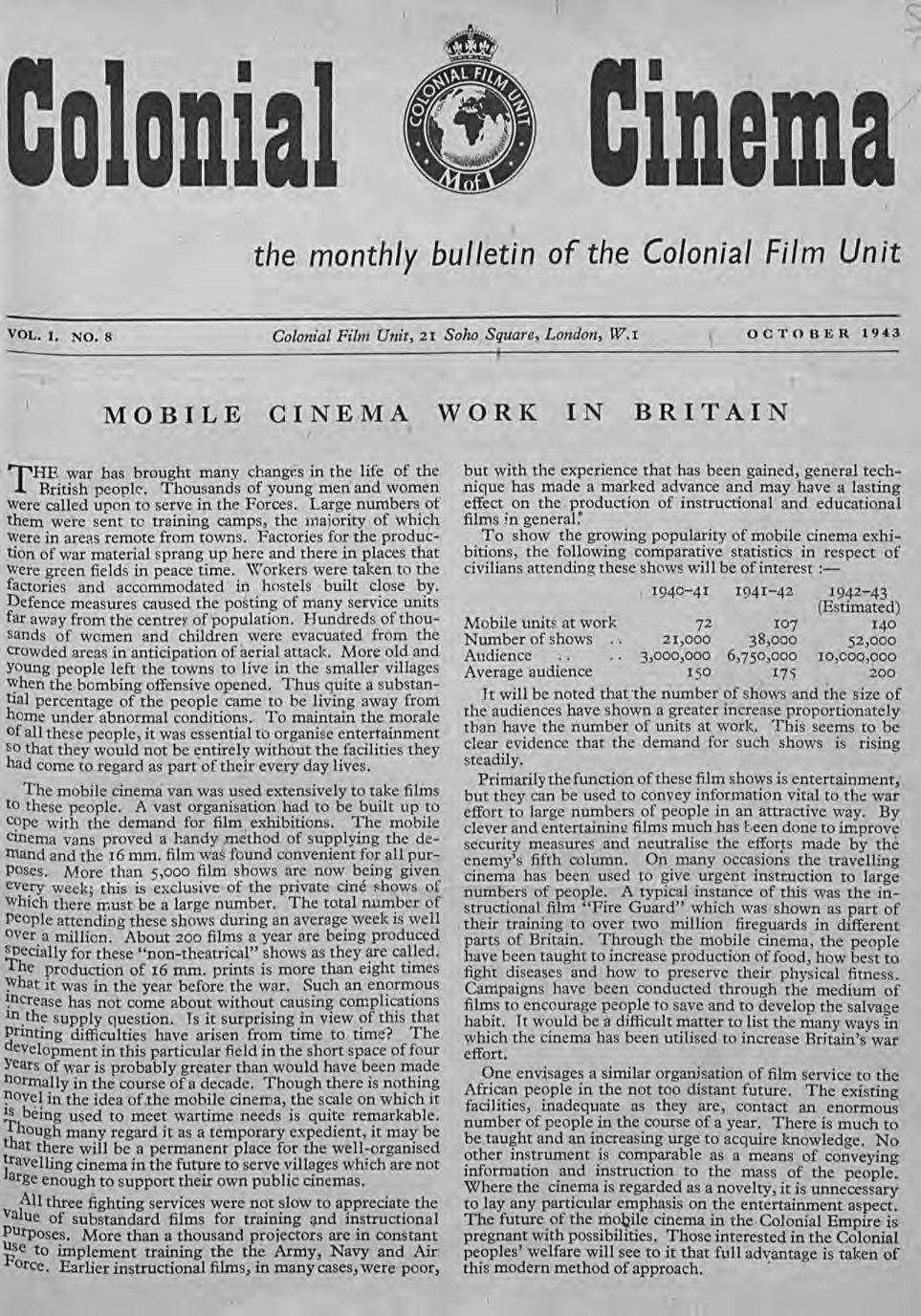 inemr the monthly bulletin of the Colon~al Film Unit VOL. I. NO.8 Colonial Film Unit,21 Soho Square, London, W.