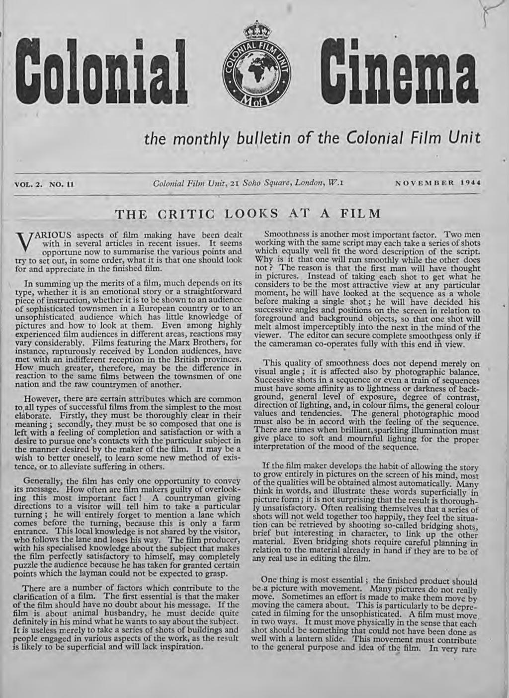 I DDDla ldema the monthly bu(letin of the Colonial Film Un):.' VOL. 2. NO.