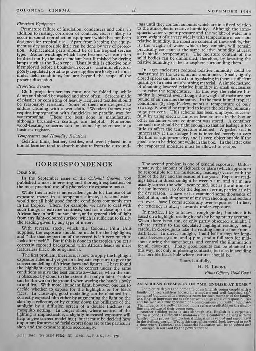 COLONIAL CINEMA 4 NOVEMBER 1944 Electrical Equipment Premature failure of insulation, condensers and coils, in addition to rusting, corrosion of contacts, etc.