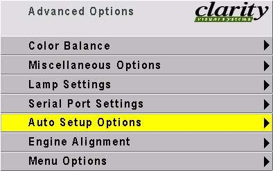 Advanced Options: Auto Setup Options The checked events occur when the input changes, say from XGA to UXGA a new source is selected you press the SOURCE button.