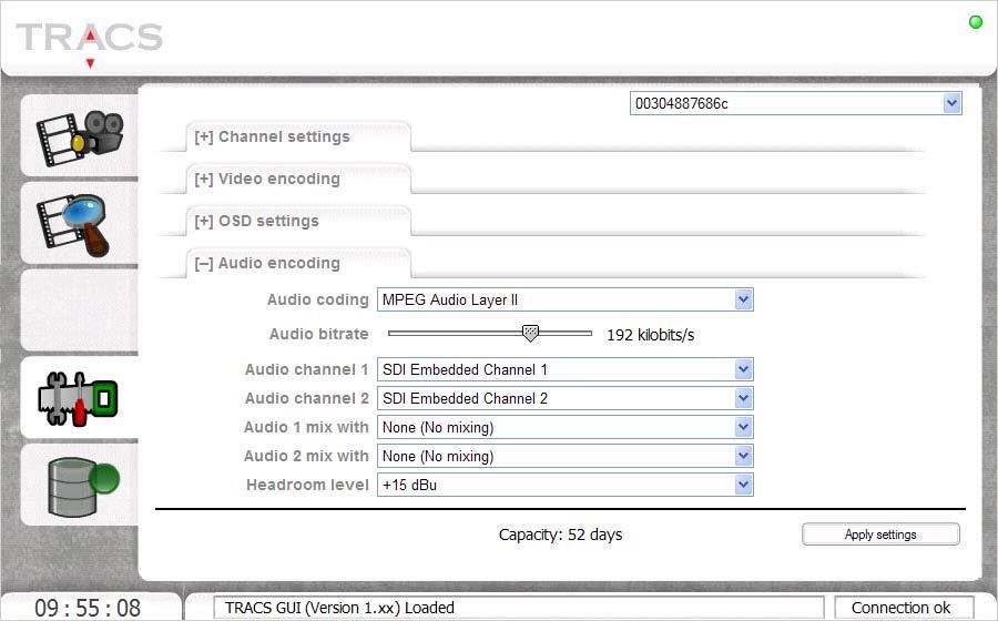 while lowering the encoder quality and disabling VBI recording will increase the recorder s capacity. Changes will not influence the current recordings until you click the Apply settings button.