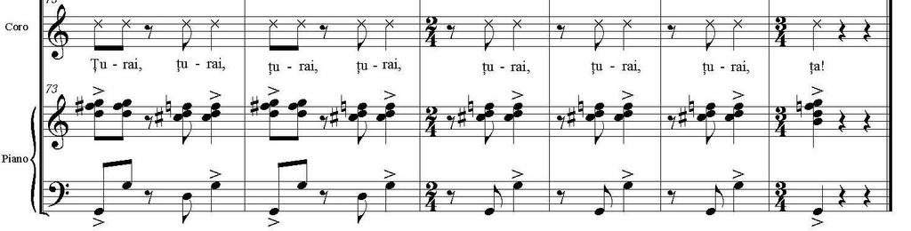 XI th EPISODE The last episode of this work develops into a triumphal atmosphere in which all instruments display repetitively the α motif in nuances of fortissimo.