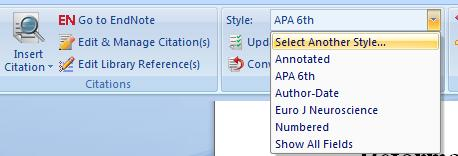 EndNote Basics 2 Reformat a Bibliography 1. Choose Select Another Style from the Style pull-down menu. 2. Choose a style from the list and click OK.
