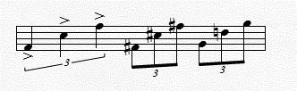 Figure 8: Melodic perfect fifths from the A section of Bruce I chose to rite melodies using melodic fifths (Figure 8) for the same metaphorical reasons that I chose to use harmonic fifths, but also