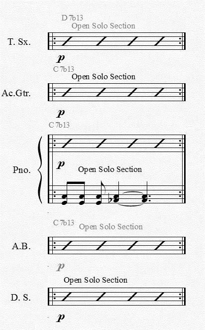 Figure 21: The first part of the solo section is very open for improvisation as a group This section eventually leads into the second part of the solo section, based on the B section of the piece