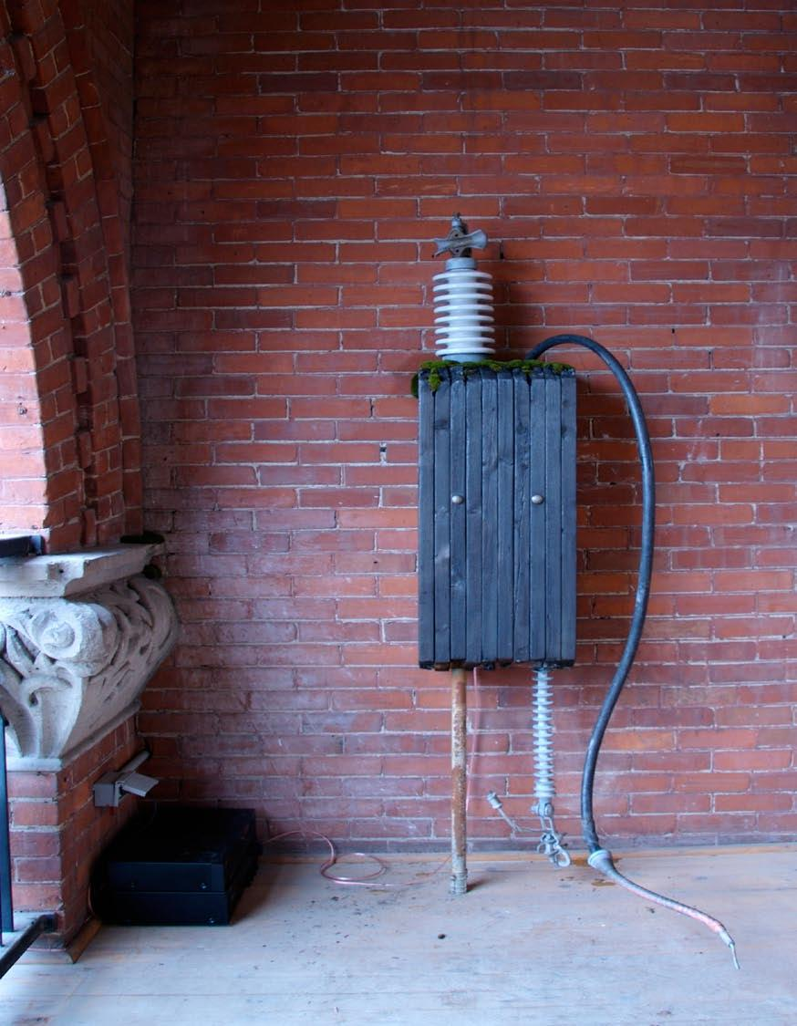 Chord is a recreation of an antiquated electrical transformer installed on the second floor balcony of the Gladstone Hotel.