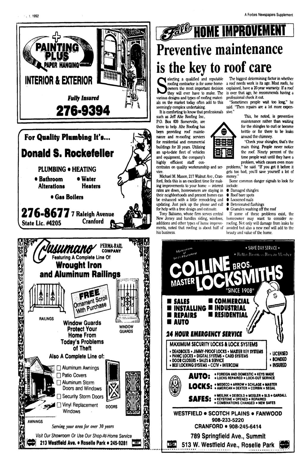 1992 A Forbes Newspapers Supplement HOME MPROVEMENT 11 Preventive maintenance NKRNWUW NTEROR & EXTEROR Fully nsured 276-9394 [ For Quality Plumbing t's Donald S.
