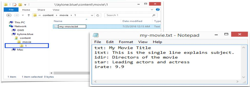 5. Go to 1 folder, and create a text document for new movie my-movie.txt. > Edit my-movie.