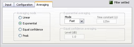 Then click OK to close the configuration window. The Octave Analysis Express VI can perform linear, exponential, equal confidence, or peak averaging.
