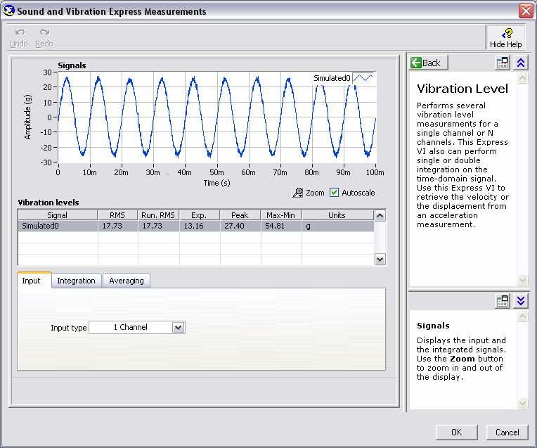 Figure 2-6. Configuration window of the Vibration Level Express VI 3. Go to the Integration tab and make sure that Integration Type is None.