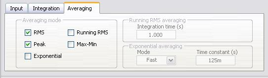 The Vibration Level Express VI can simultaneously calculate RMS, peak, exponential, running RMS, and max-min averaging. Figure 2-8.