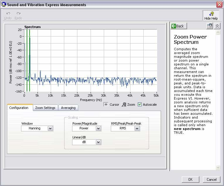 Figure 3-8. Configuration window of Zoom FFT Express VI Make sure that the scaling is selected as Power and db.