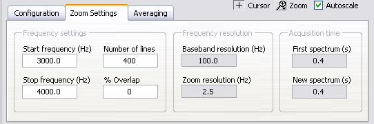 Figure 3-9. Zoom Settings tab of the Zoom FFT Express VI 10.