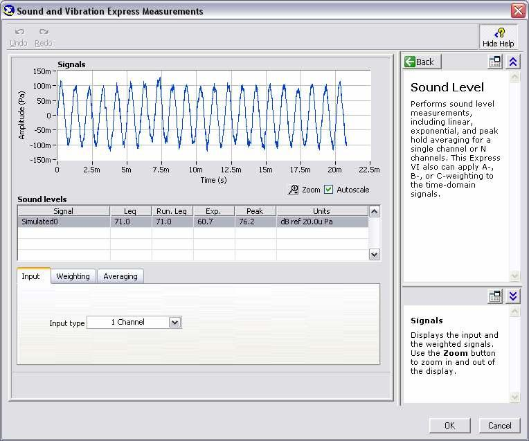 2. The Sound Level Express VI opens the configuration window:. Figure 1-10.