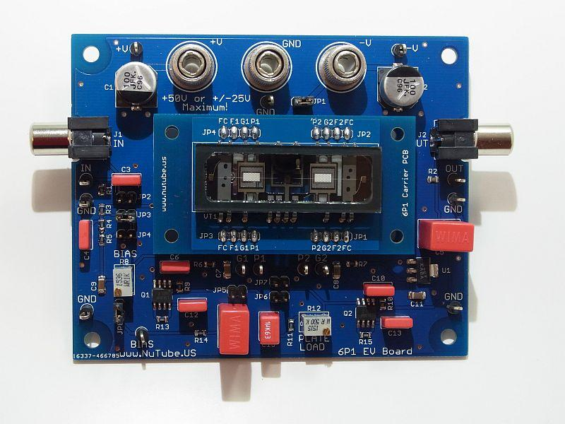 Introduction The 6P1 Evaluation Board (EVB) is a vehicle for testing and evaluating the Korg Nutube 6P1 dual triode in audio circuits. This product is designed and manufactured by Nutube.US. Nutube.US is an independent, authorized distributor of the Korg Nutube device.
