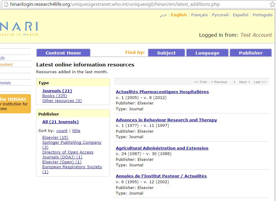 Now displayed is the Latest online information resources page.