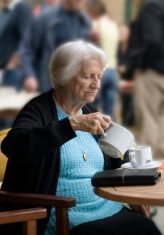 The present progressive is used to talk about what is happening right now. Subject + Be + Main Verb + ing She is pouring a cup of tea. She is drinking a cup of coffee.