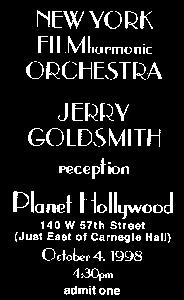 This idea became reality on October 4, 1998, when Jerry Goldsmith raised his baton at Carnegie Hall to conduct the debut of the New York FILMharmonic Orchestra (NYFO), a group of 92 of New York s