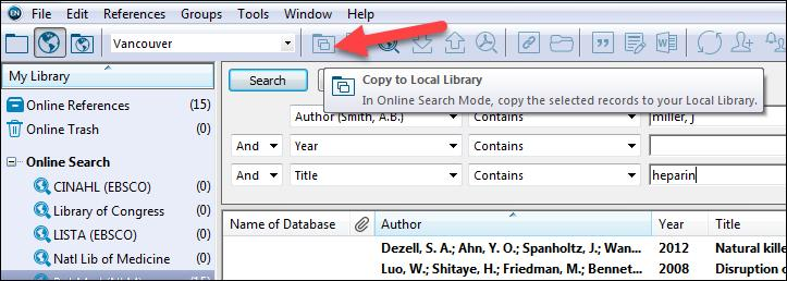 It may not be immediately obvious that you have transferred references to your library. Click the Local Library Mode icon in the upper-left hand corner to return to your library.