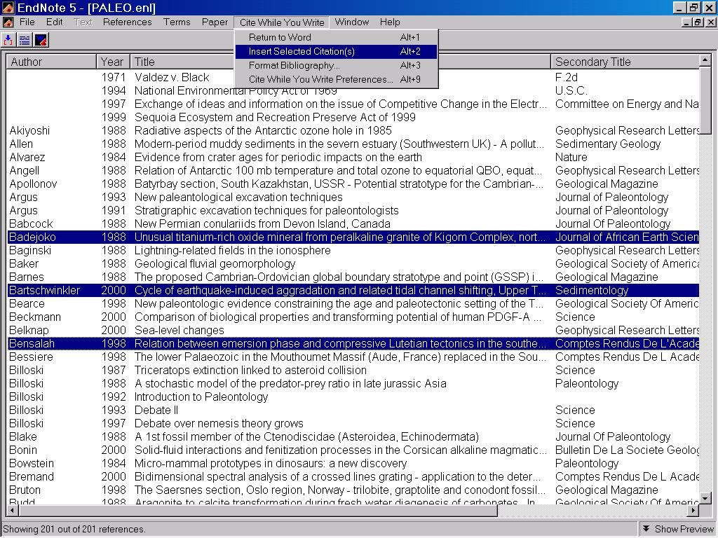 To insert multiple citations, place the cursor in the Word document In EndNote, highlight