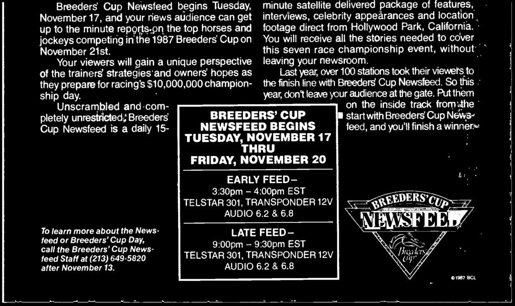 S this 't le BREEDERS' CUP NEWSFEED BEGINS TUESDAY, NOVEMBER 17 THRU