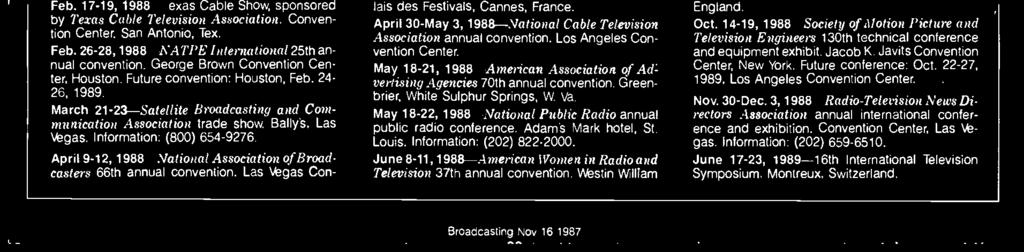 "Las Vegas Cn- di and Televisin, fr ""psitive and realistic prtrayal f wmen in all media frms."" Infrmatin: (202) 429-5102. January 1988 Jan."