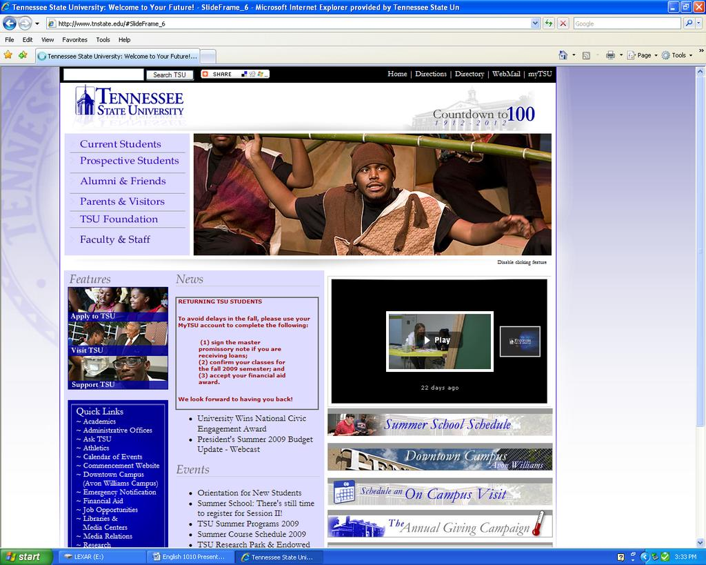 English 1010 Presentation Guide Tennessee State University Home Page The Library Link