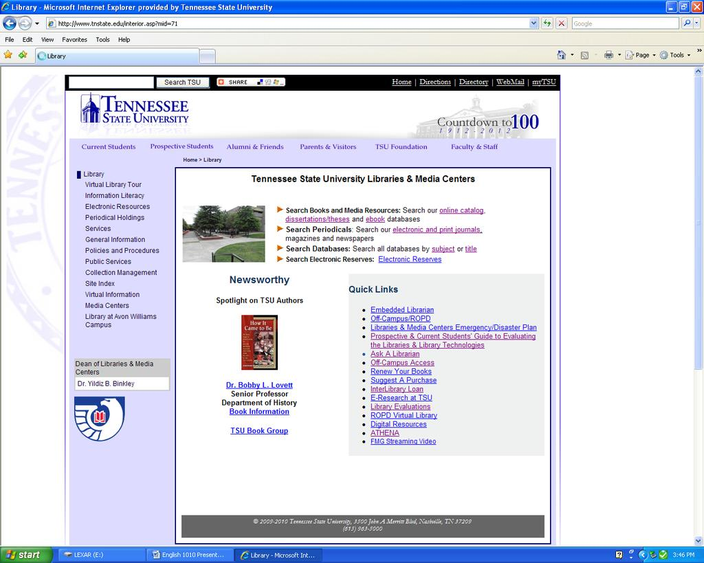 Tennessee State University Libraries and Media Centers Home Page Clicking on Libraries
