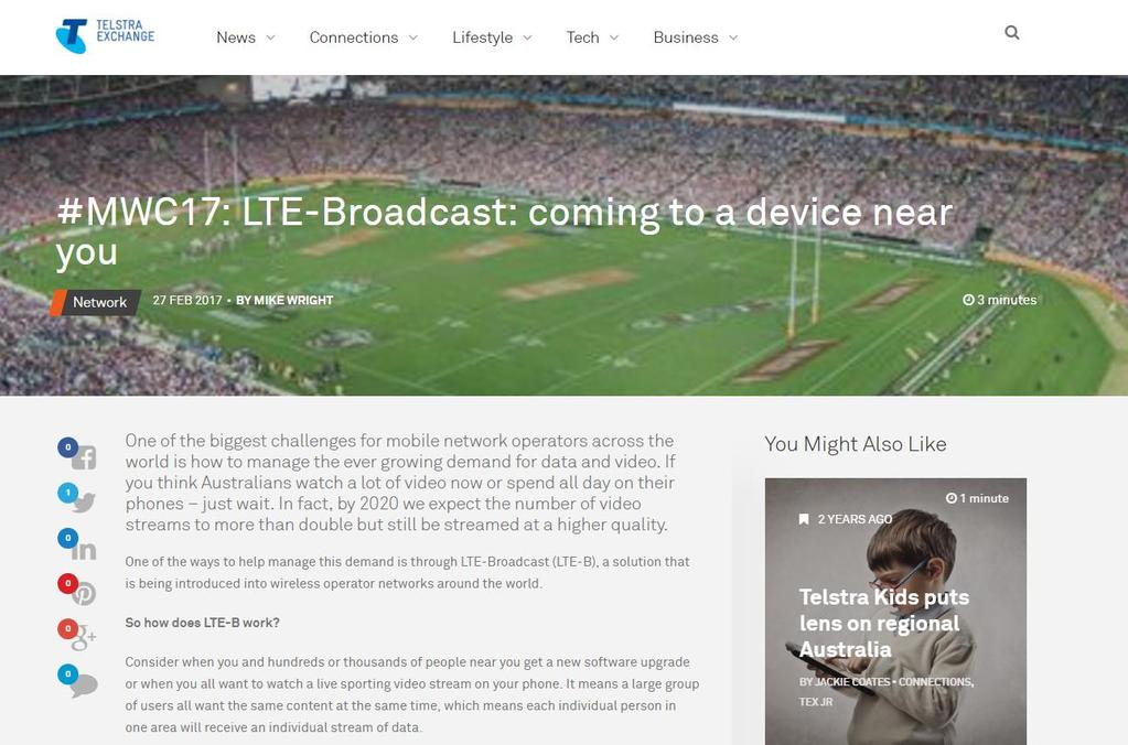 Telstra to launch LTE-Broadcast large scale 2H2017 8 Nokia 2017 ulrich.
