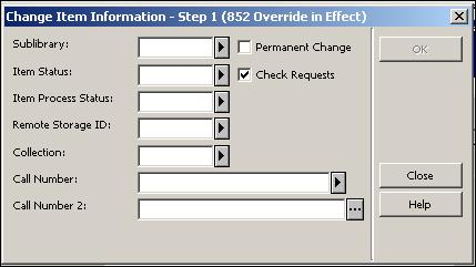 Figure 1: Item handing The Permanent Change checkbox should be left unchecked for items which are temporarily located in reserves.