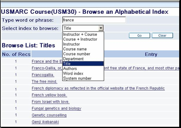 The Course Reading library is a standard base to be searched by users with dropdown Search and Browse options suited to the Course Reading OPAC.