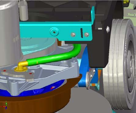the brush motor and the cable strand on the connection block, matching the colours Position the hose and fix