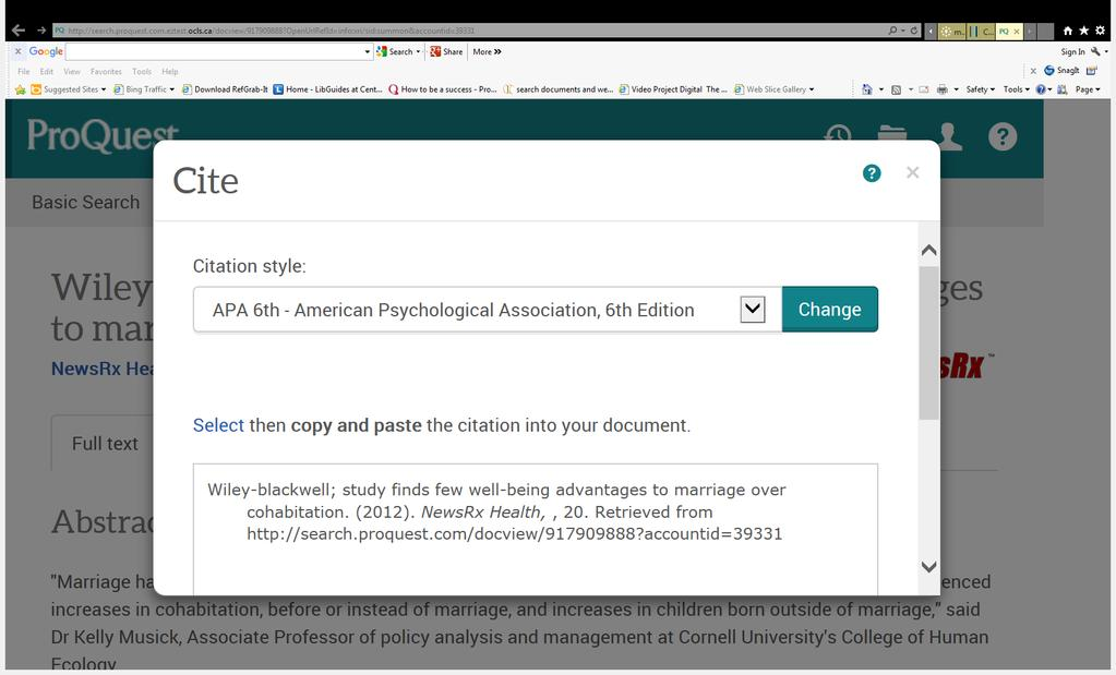 Citation help You need to know the APA