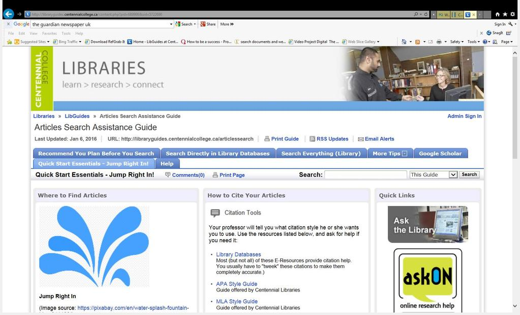 LIBRARY Articles Search Assistance