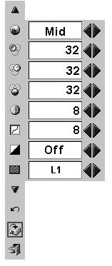 Contrast Press Point 7 8 buttons to adjust the image contrast. (From 0 to 63.) IMAGE ADJUST MENU Move the red frame pointer to the item to be selected and then press SET button.