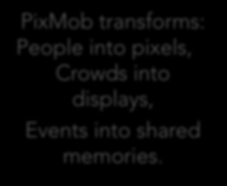 OVERVIEW PixMob is a wireless lighting company specialized in creating immersive experiences and performances that break the barrier between the crowd and the stage.