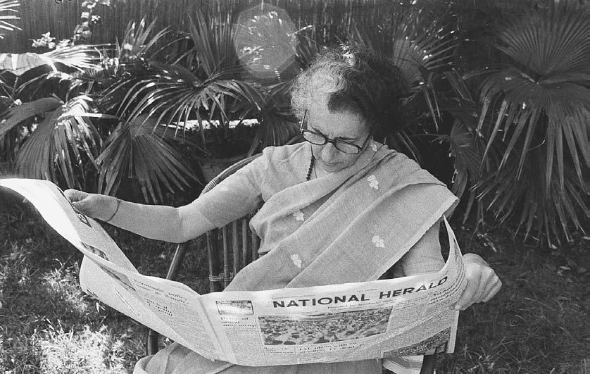 NEWSPAPERS AND MAGAZINES 115 Indian Prime Minister Indira Gandhi reads the National Herald newspaper at home, 1978. (Kapoor Baldev/Sygma/Corbis) larly harassed.