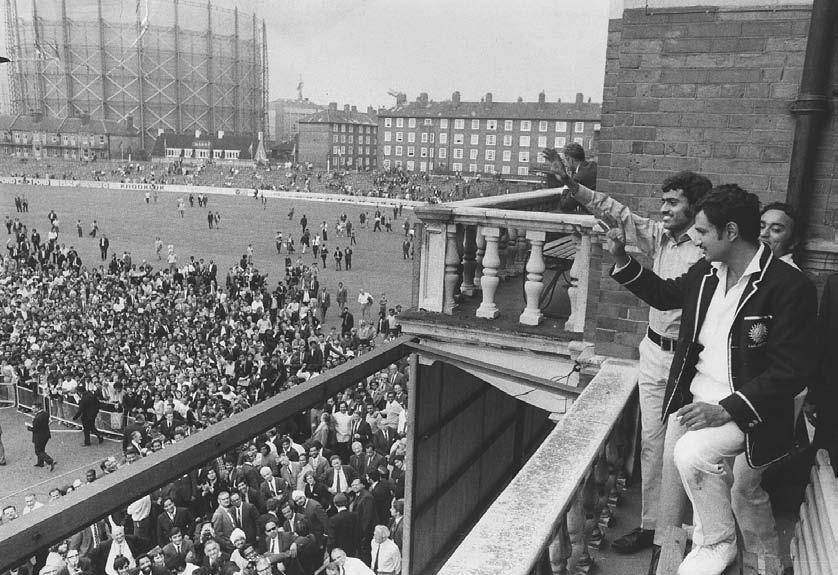 CRICKET 261 Indian skipper Ajit Wadekar and teammate B. S. Chandraserhar wave to cheering crowds at the Oval after India won the Test series against England, 24 August 1971.