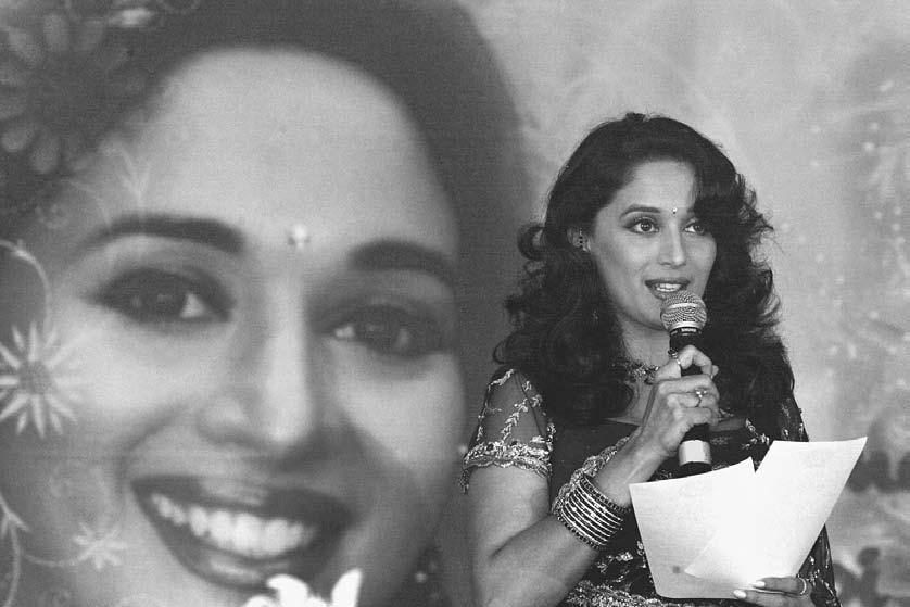INTRODUCTION 13 Madhuri Dixit talks during a press conference in New Delhi 12 July 2002.