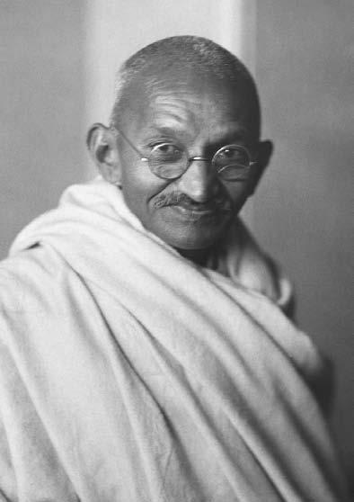 14 POP CULTURE INDIA! Mahatma Gandhi, leader of campaigns of nonviolence and civil disobedience, in the Indian independence struggle.