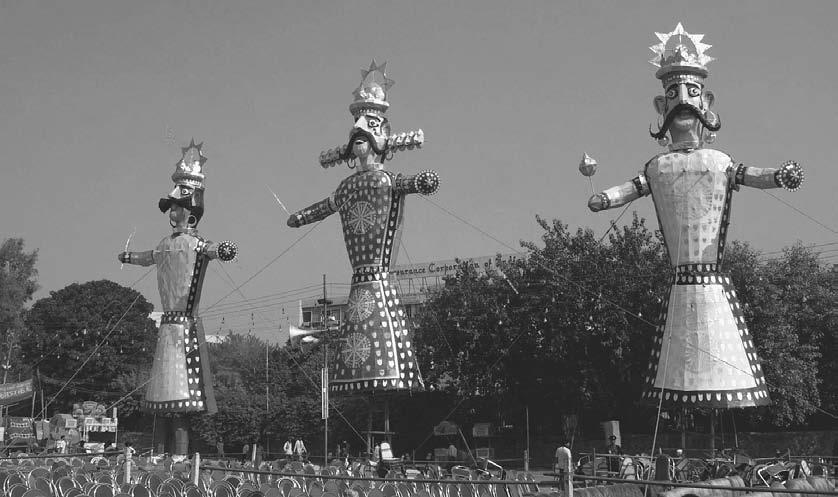 THEATER 43 Effigies of (from left to right) Meghnath, Ravana, and Kumbh Karan are ready for the celebration of Dussehra, the triumph of good over evil, where the giant-sized effigies created are then