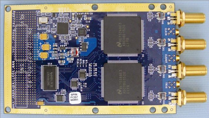 Applied Radar, Inc. SWORD Digital Receiver EXciter (DREX) The AR1006 features two Xilinx Virtex-5 FPGAs with basic I/O framework supplied as a factory core.