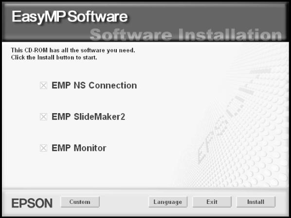 Installing the Software on a Windows System Follow these steps: 1. Insert the EasyMP CD-ROM in your computer s CD-ROM or DVD drive. You see this screen: 2.