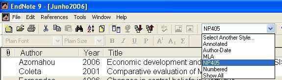 Toolbar has the option to quickly change the style of bibliographic references, triggering one of the