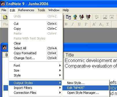 "Edit menu ""Output styles"" edit the"
