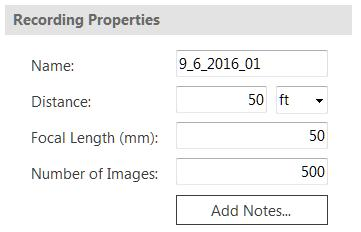 Number of Images If the duration type is set to Number of Frames this option will be visible. The entered value specifies the length of the recording in terms of the number of images to collect.