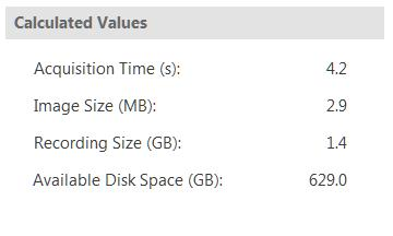 Recording Size (GB) Total size of the recording based on the number of images. Available Disk Space (GB) -Available space on the disk drive selected to store recordings. 2.